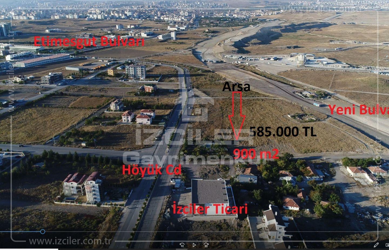 Höyük Cd.Bir Parsel Bağlıca da Satılık 900 m2 Emsal 0,35 de Arsa